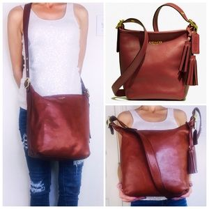 Coach Distressed Oxblood Leather Bucket Bag